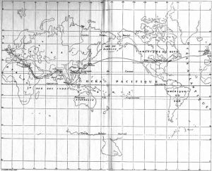 "Map from 1872 version of ""Around the World in 80 Days."""